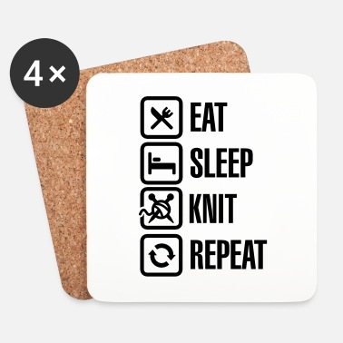 Métier Eat Sleep Knit Repeat - Dessous de verre (lot de 4)