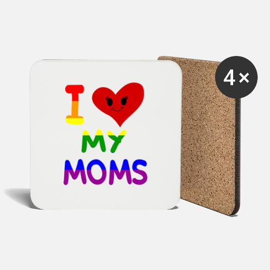 Love Mugs & Drinkware - I love my moms mothers mums family pride gay - Coasters white