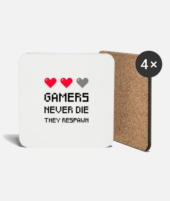 Play Mugs & Drinkware - Gamer Gamers Never Die They Respawn - Coasters white