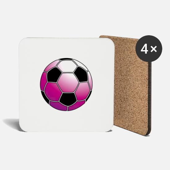 Soccer Mugs & Drinkware - pink soccer ball / fussball_pink - Coasters white