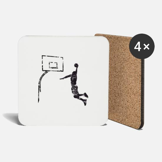 Basketball Mugs et récipients - Basket-ball Basketball Basket - Dessous de verre blanc