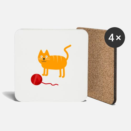 Gift Idea Mugs & Drinkware - Cute cat with wool ball - Coasters white