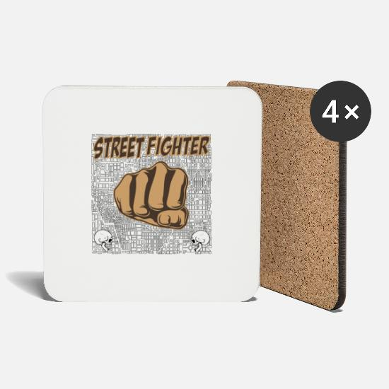 Street Mugs & Drinkware - street fighters - Coasters white