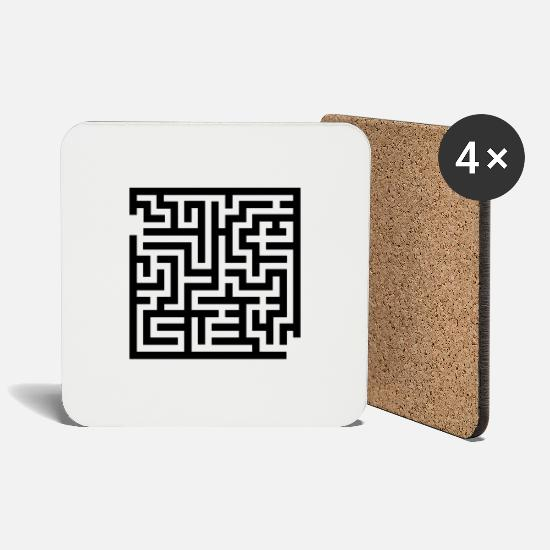 Enigma Mugs & Drinkware - Riddle labyrinth maze - Coasters white