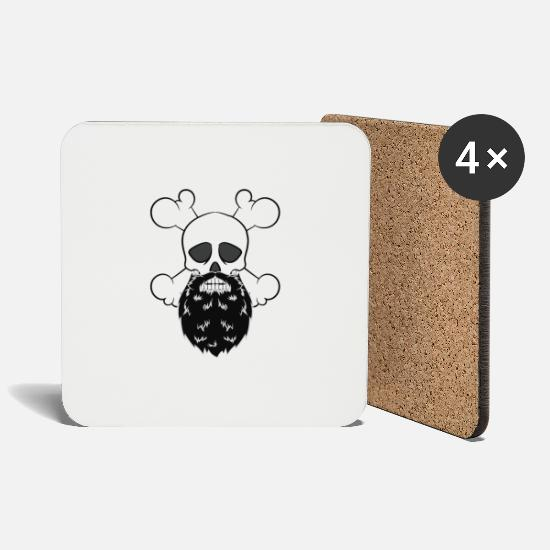 Pirate Mugs & Drinkware - Bearded Pirate Skull without eye Patch Crossbones - Coasters white