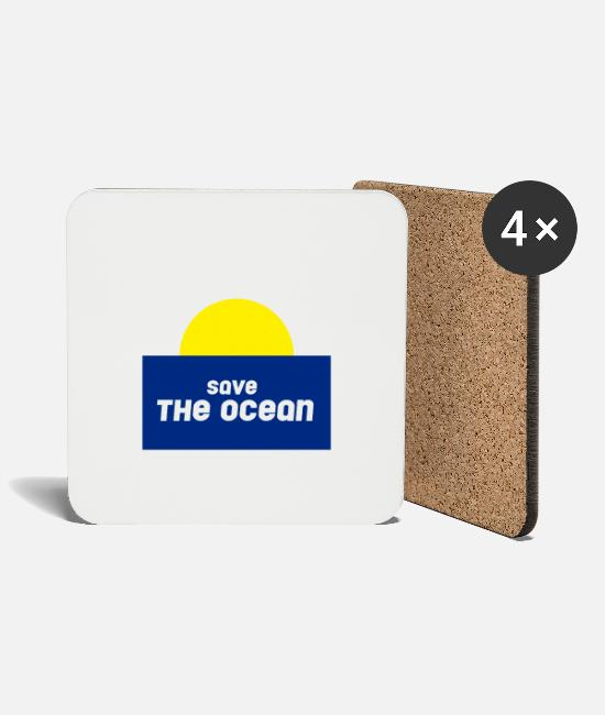 Water Mugs & Drinkware - save the ocean - Coasters white