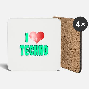 Love A Techno Tee For Music Lovers Saying I Love - Coasters