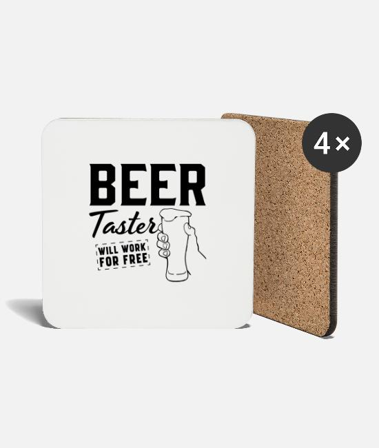 Tester Mugs & Drinkware - Beer Taster Will Work For Free - Coasters white