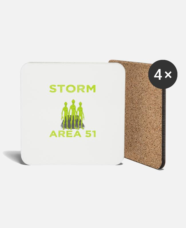 "Space Mugs & Drinkware - ""Storm 37 14'0'N 115 48'30'W Area 51 They Can't - Coasters white"