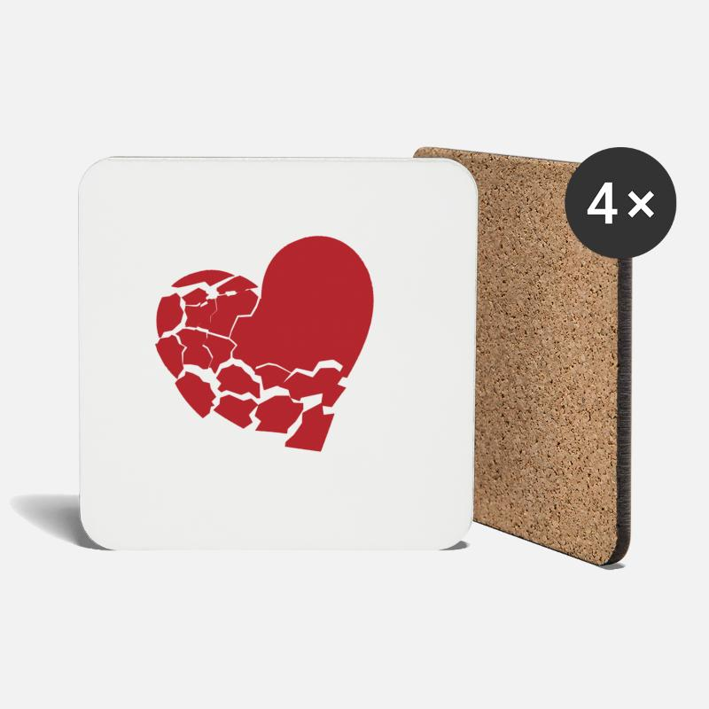 Broken Mugs & Drinkware - Broken heart - Coasters white
