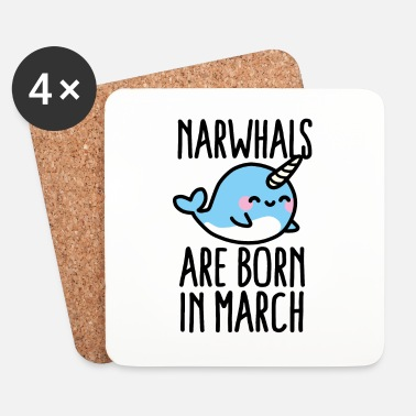 Gift Narwhals are born in march birthday gift - Glasbrikker (sæt med 4 stk.)