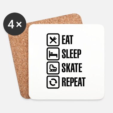 Vinter Eat sleep figure ice skate repeat - Underlägg (4-pack)