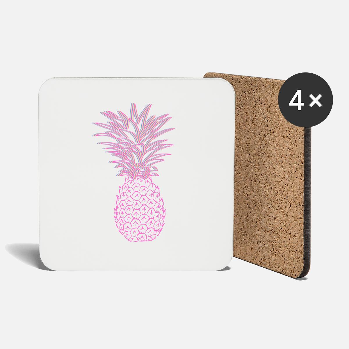 Ananas Rysunek różowy ananas podstawki (4 sztuki w zestawie) - biały