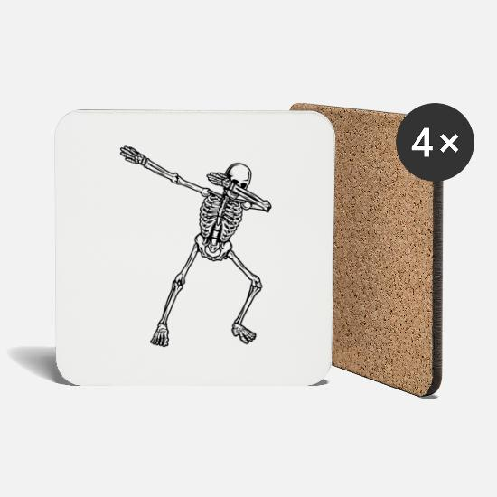 Gift Idea Mugs & Drinkware - Dab Dabbing Skeleton Cool Shirt Design Gift - Coasters white