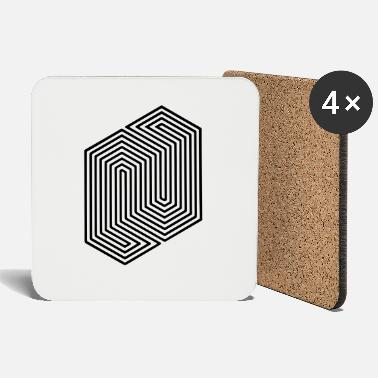 Geek &amp Optical Illusion (Impossible Minimal B & W Lines) - Coasters