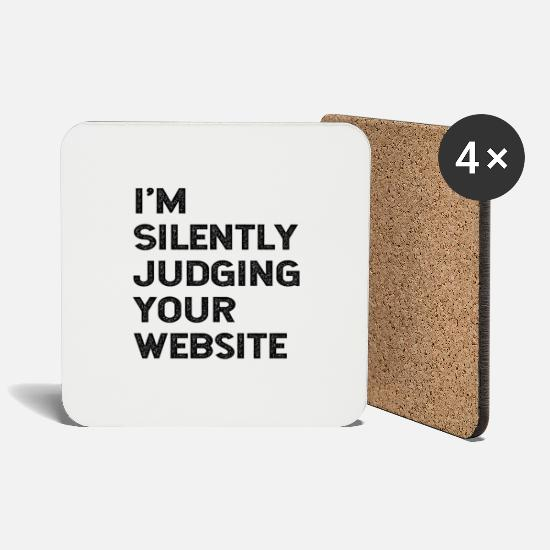 Website Mugs & Drinkware - I'm Silently Judging Your Website Web Developer - Coasters white