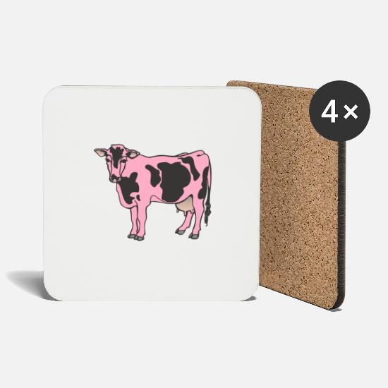 Gift Idea Mugs & Drinkware - Cow beef dairy cow pink farm - Coasters white