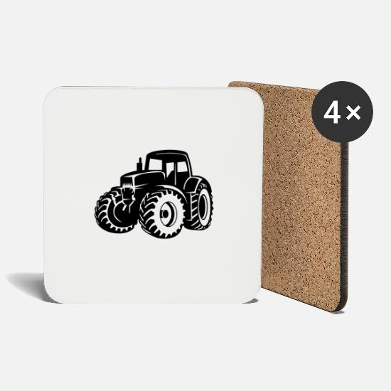 Country Mugs & Drinkware - tractor - Coasters white