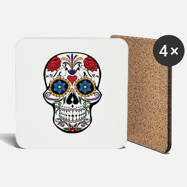 Beautiful cute skull colorful dead head style cranium - Coasters