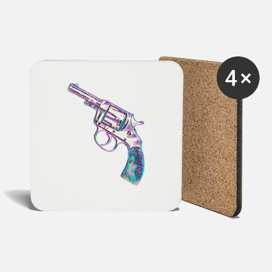 Revolver Mugs & Drinkware - Colorful revolver - Coasters white