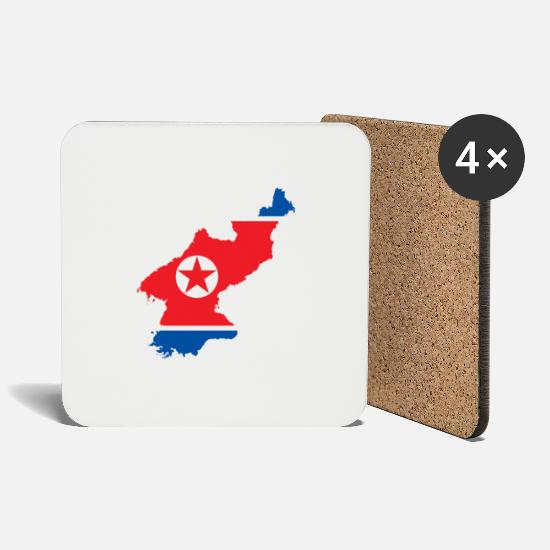 Seoul Mugs & Drinkware - NORDKOREA T-SHIRT - Coasters white