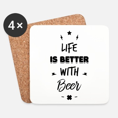Kuningas life is better with beer - Lasinalustat (4 kpl:n setti)