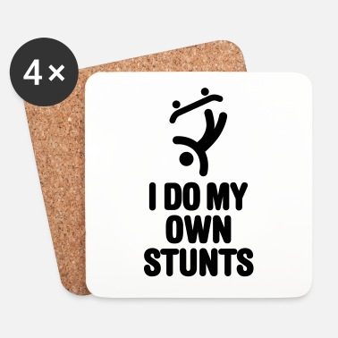 Divertidas I do my own stunts skateboard skateboarding skate - Posavasos (juego de 4)