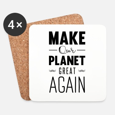Økologi make our planet great again - Glasbrikker (sæt med 4 stk.)