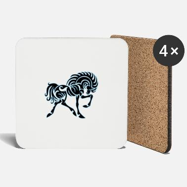 Racing Horse horse race stallion white horse - Coasters