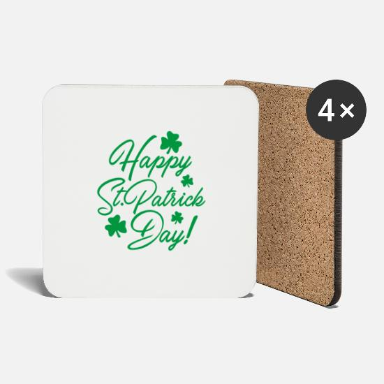 St Mugs & Drinkware - Ireland / St. Patrick's Day: Happy St. Patrick Day! - Coasters white