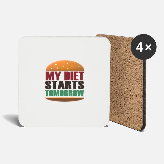 Lunch Mugs & Drinkware - My Diet Starts Tomorrow - Coasters white