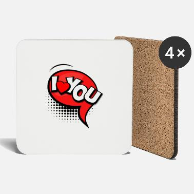 Explosion I Love You Pop Art - Coasters