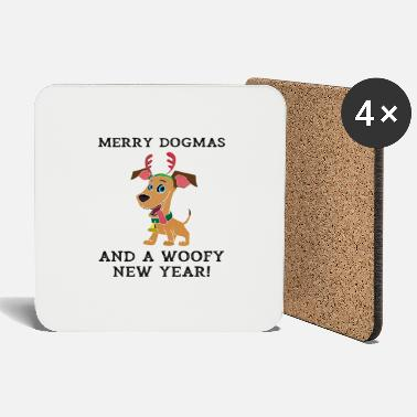 Woofy Merry Dogmas And A Woofy New Year Cute Dog Owner - Coasters