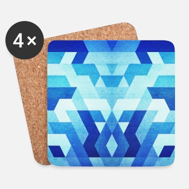 Collections  Blue Geometry  Triangle Pattern - Handy Case  - Coasters (set of 4)
