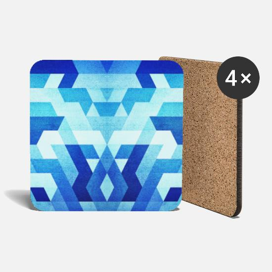 Homedecor Mugs & Drinkware -  Blue Geometry  Triangle Pattern - Handy Case  - Coasters white