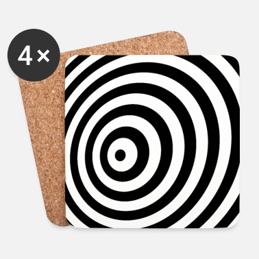 Swag Minimum Geometry illusie in Black & White OP-ART - Onderzetters (4 stuks)