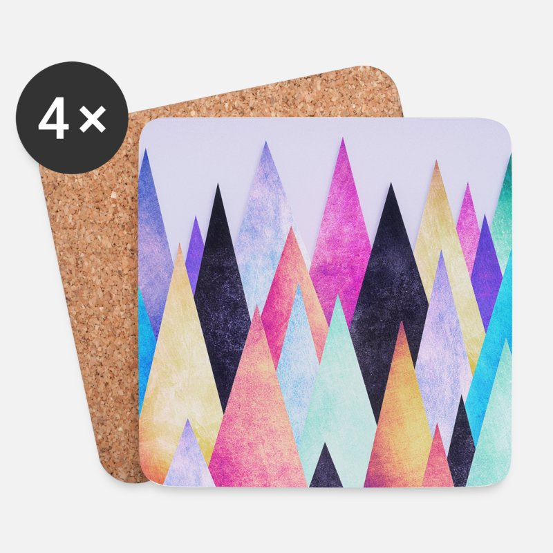 Birthday Mugs & Drinkware -   Hipster triangles (geometry) Abstract Mountains  - Coasters white