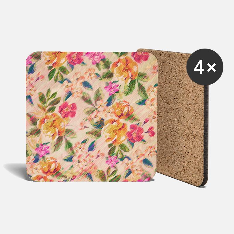 Bestseller Mugs & Drinkware - Vintage Glitched Pastel Flowers - Phone Case - Coasters white