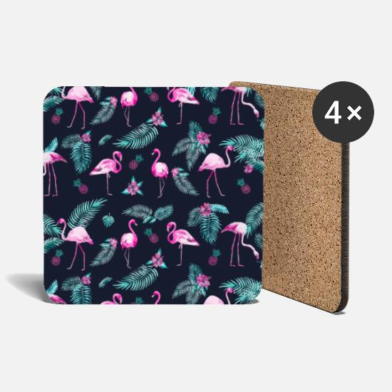Mother's Day Mugs & Drinkware - TROPICAL FLAMINGOS - Coasters white