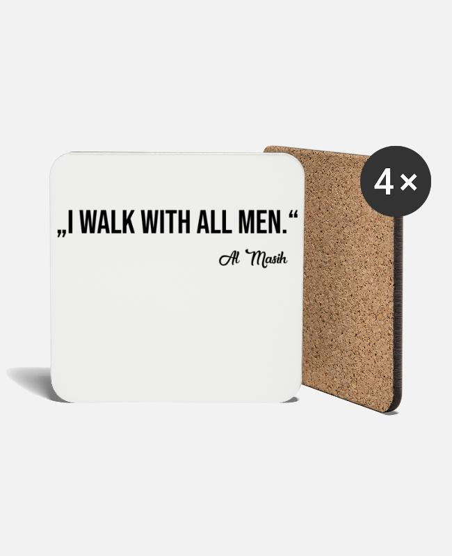 Belief Mugs & Drinkware - WALK WITH ALL MEN - Coasters white