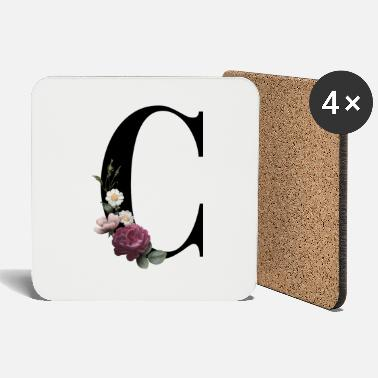 Initial Initial with C floral print - Coasters