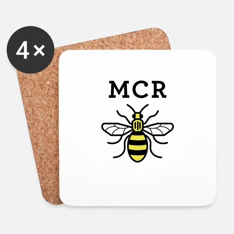 Manchester Mugs & Drinkware - MCR MANCHESTER BEE VECTOR - Coasters white