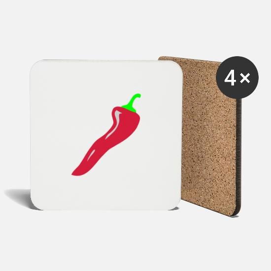 Chili Mugs & Drinkware - hot chili / peperoncino / pepper - Coasters white