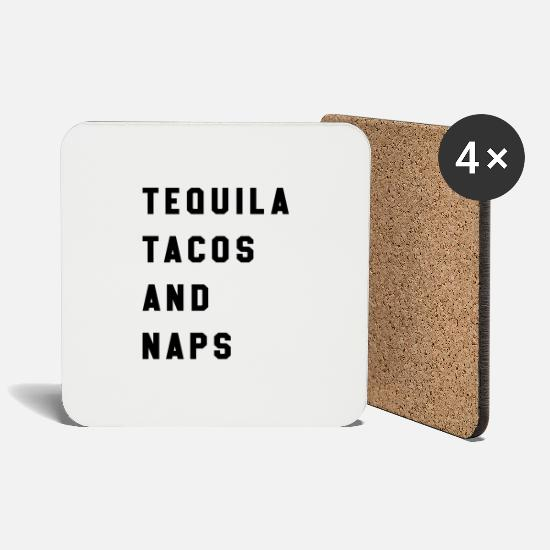 Alcohol Mugs & Drinkware - Tequila Tacos And Naps - Coasters white