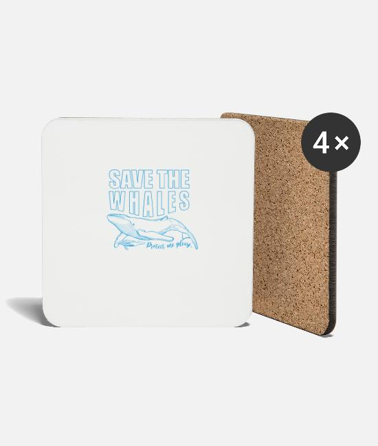 Save The World Mugs & Drinkware - Save the whales - Coasters white