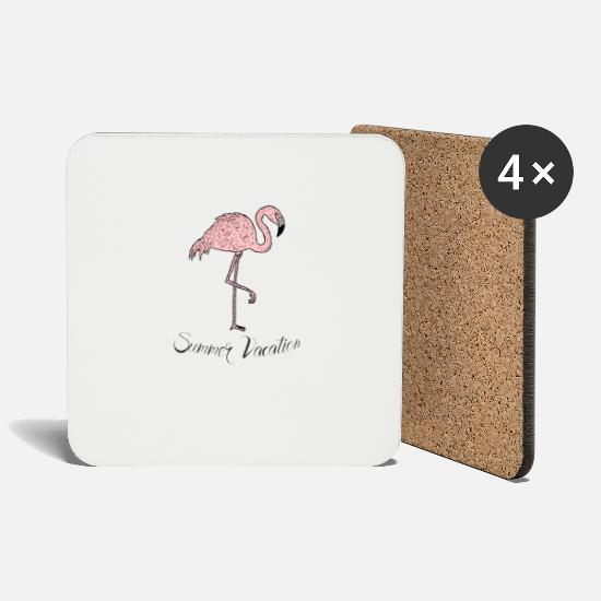 Travel Mugs & Drinkware - Pink exotic flamingo - Summer Vacation - Coasters white