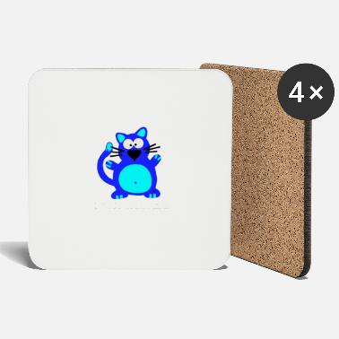 Cancer Halloween Fuck Cancer Fight Cancer Breast Awareness Cat Blue - Coasters
