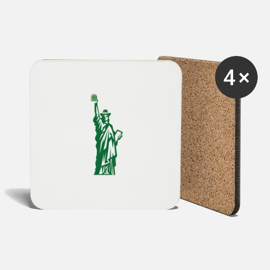 Statue Of Liberty Mugs & Drinkware - St. Patricks Day Statue Of Liberty Irish Green - Coasters white