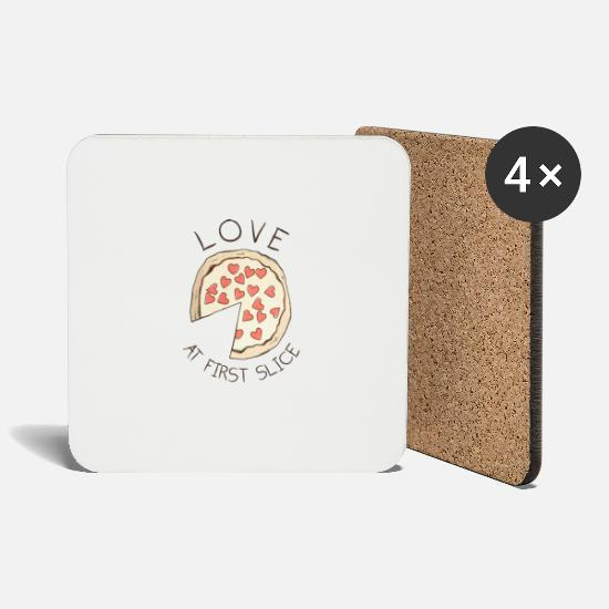 Love Mugs & Drinkware - Pizza Love At First Slice - Coasters white