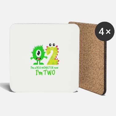 Birthday Funny FUNNY 2ND BIRTHDAY MONSTER DESIGN - Coasters
